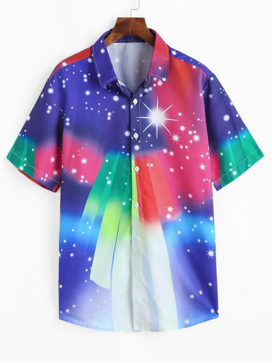 affordable Colorful Gradient Spotty Short Sleeve Shirt - MULTI S