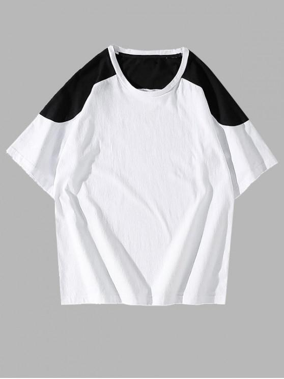 fashion Colorblock Panel Short Sleeve Tee - WHITE XS
