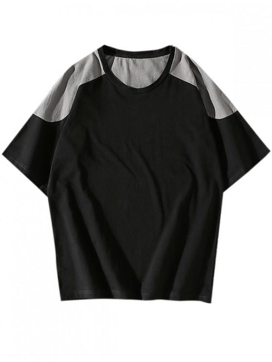 unique Colorblock Panel Short Sleeve Tee - BLACK XS