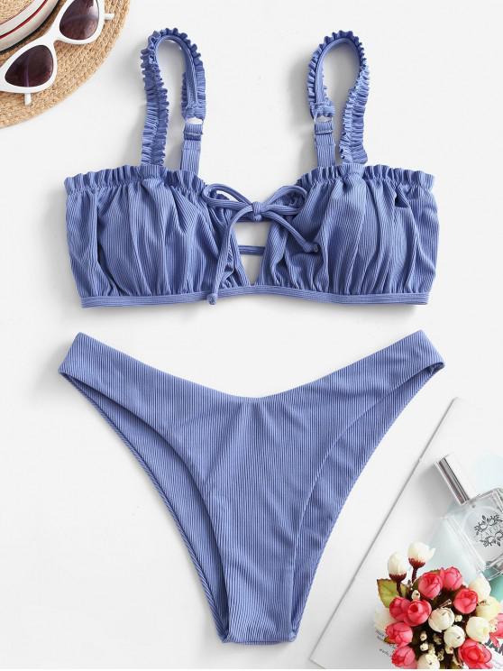 Costume da Bagno Bikini a Costine a Gamba Alta con Taglio Ondulato di ZAFUL - Blu  Seta S
