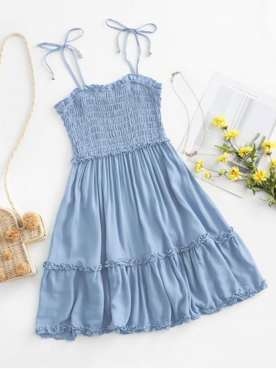 latest Smocked Tie Shoulder Lettuce Trim Mini Dress - PASTEL BLUE S