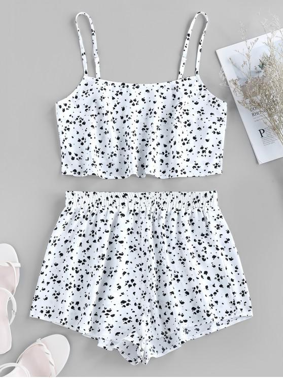 unique ZAFUL Cami Ditsy Print Pajamas Set - WHITE S