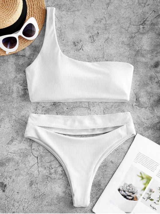 ladies ZAFUL Ribbed Cutout One Shoulder High Leg Bikini Swimwear - WHITE S