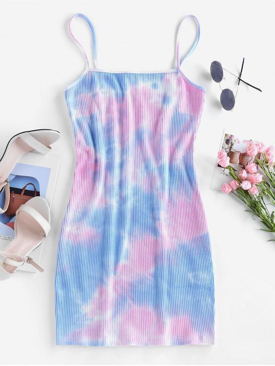 trendy ZAFUL Ribbed Tie Dye Mini Bodycon Dress - MULTI-A L