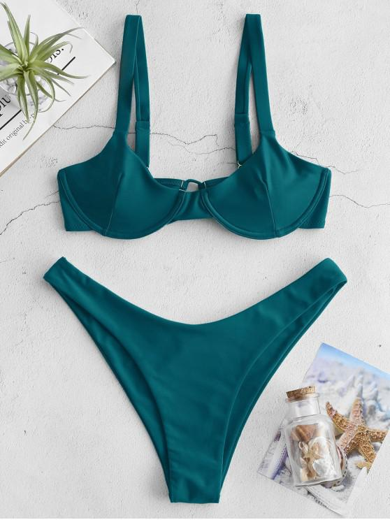 ZAFUL Underwire Tie Balconette Bikini Set - الطاووس الأزرق S