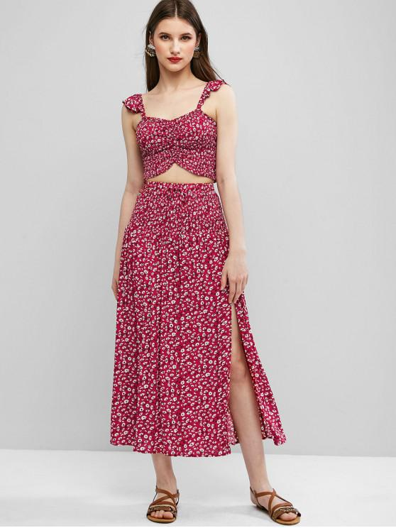 chic Ditsy Floral Smocked Slit Two Piece Dress - CHERRY RED S