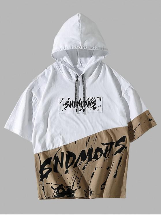 fashion Splatter Painting Graphic Colorblock Hooded T-shirt - WHITE L