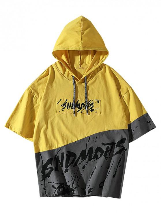 affordable Splatter Painting Graphic Colorblock Hooded T-shirt - YELLOW XS