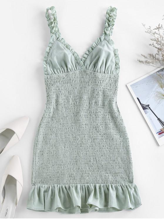 shop ZAFUL Smocked Ruffled Bodycon Dress - CYAN OPAQUE S