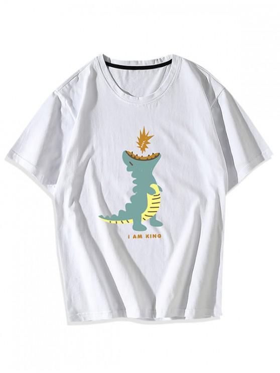 new Cartoon Dinosaur Graphic T-shirt - WHITE XS