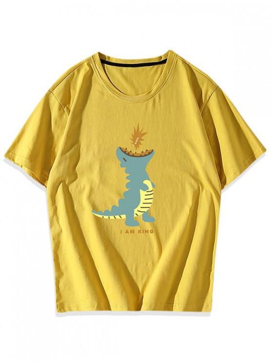 sale Cartoon Dinosaur Graphic T-shirt - YELLOW XS