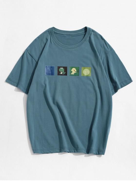 online Short Sleeves Cartoon Printed Tee - BLUE L