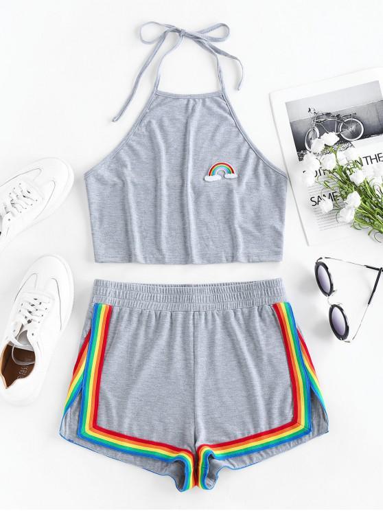 ladies ZAFUL Rainbow Halter Slit Shorts Set - CLOUDY GRAY XL