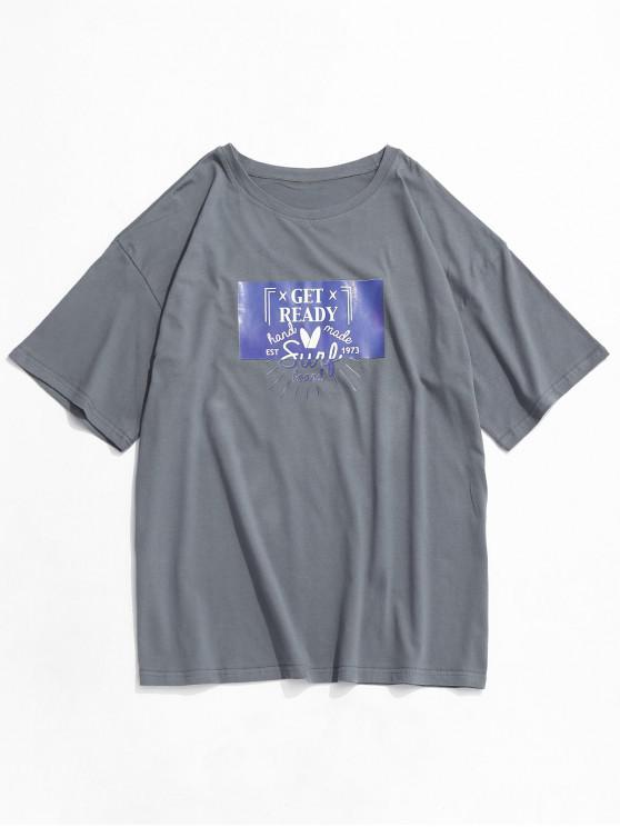 trendy Get Ready Graphic Short Sleeve Basic T-shirt - GRAY XS