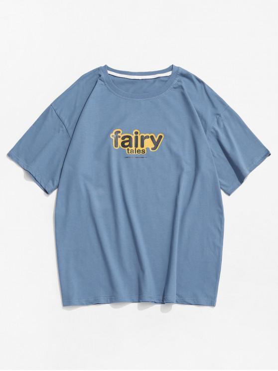 Camiseta Básica con Estampado de Flecos - Azul 2XL