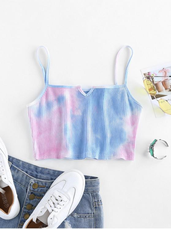 women's ZAFUL Ribbed Tie Dye Crop Top - MULTI-A M