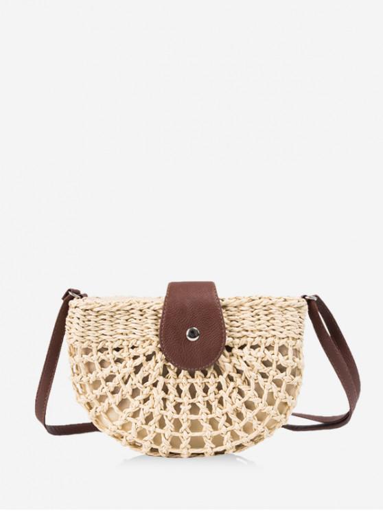 shop Beach Semicircle Crochet Crossbody Bag - BEIGE