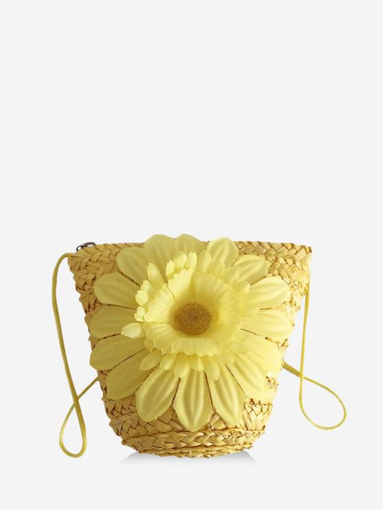 best Beach Flower Mini Crossbody Bag - YELLOW