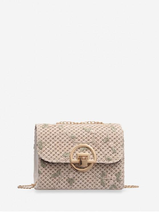 affordable Floral Embroidery Straw Chain Crossbody Bag - WARM WHITE
