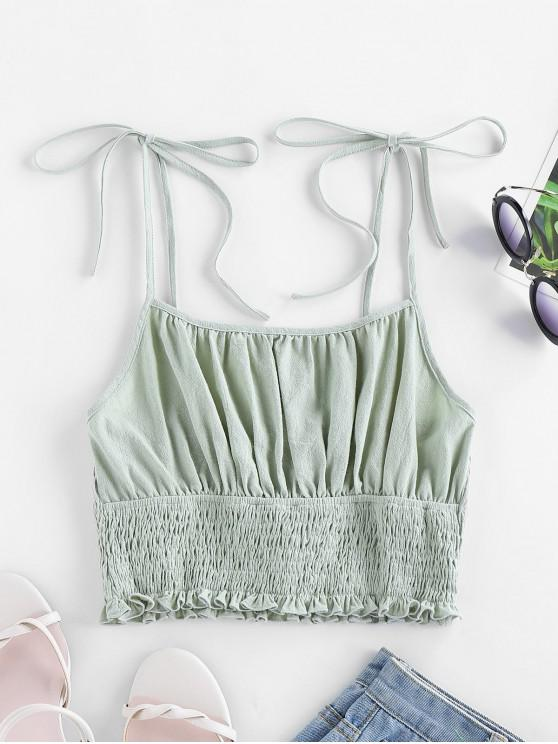 affordable ZAFUL Tie Strap Ruched Smocked Cami Top - CYAN OPAQUE S