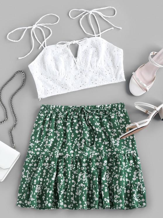 ZAFUL Conjunto de Duas Peças com Bordado Floral - Verde de Mar  XL
