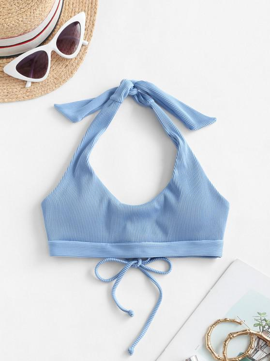 shops ZAFUL Ribbed Halter Lace Up Bikini Top - DENIM BLUE M