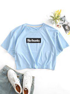 T-shirt Lettre Graphique - Bleu Ciel Léger  L
