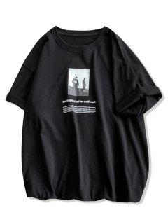 Photographic Letter Print Casual T-shirt - Black S