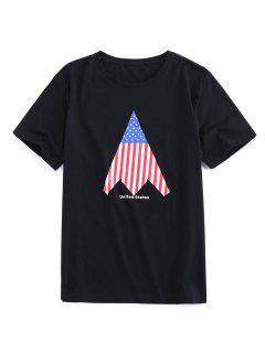 ZAFUL Camiseta De Cuello Redondo Con Estampado De Bandera De Estados Unidos - Negro 2xl