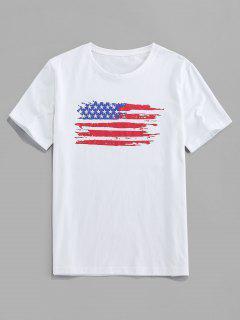 ZAFUL Camiseta Casual Con Estampado De Bandera De Estados Unidos - Blanco 2xl