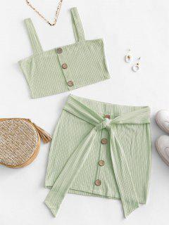 ZAFUL Button Embellished Belted Bodycon Skirt Set - Light Green M