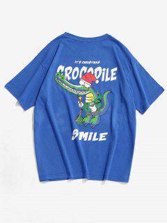 T-shirt Motif D'Animal Dessin Animé Souriant - Bleu 2xl
