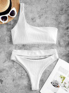 ZAFUL Ribbed Cutout One Shoulder High Leg Bikini Swimwear - White L