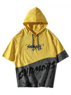 Splatter Painting Graphic Colorblock Hooded T-shirt - Yellow Xs
