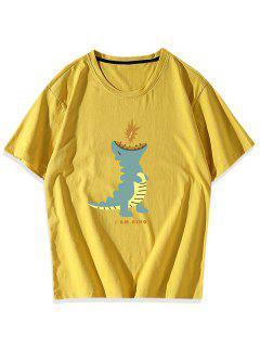 T-shirt Graphique Dinosaure Dessin Animé - Jaune Xs