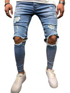 Ripped Hole Decoration Button Fly Jeans - Denim Blue L