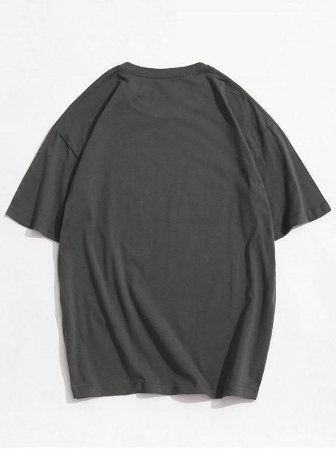 T-shirt de Impressão de Mangas Curtas de Gola Levantada para Homens - Cinzento Escuro 2XL Mobile