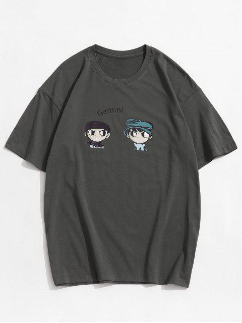 T-Shirt Stampata con Maniche Corte - Grigio Scuro 3XL Mobile