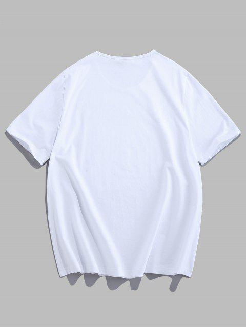 women's ZAFUL Flower Letter Printing Casual T-shirt - WHITE 2XL Mobile