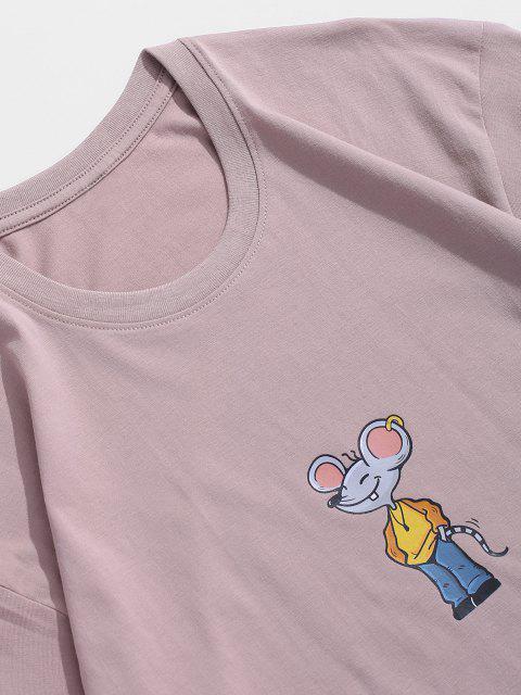 Maglietta a Maniche Corte con Stampa a Mouse Dei Cartoni Animati - Rosa L Mobile