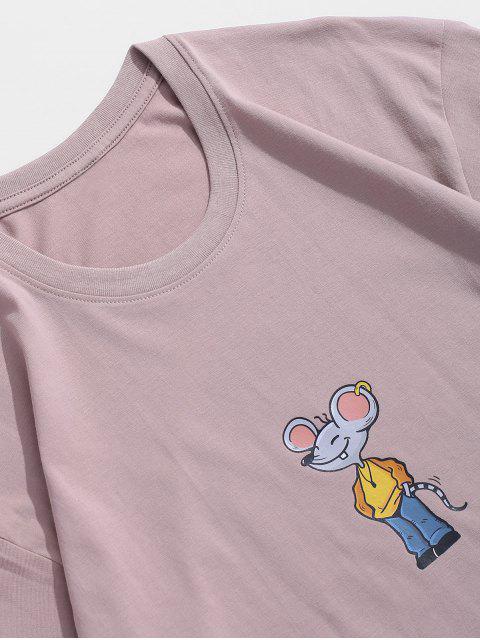 Maglietta a Maniche Corte con Stampa a Mouse Dei Cartoni Animati - Rosa 3XL Mobile