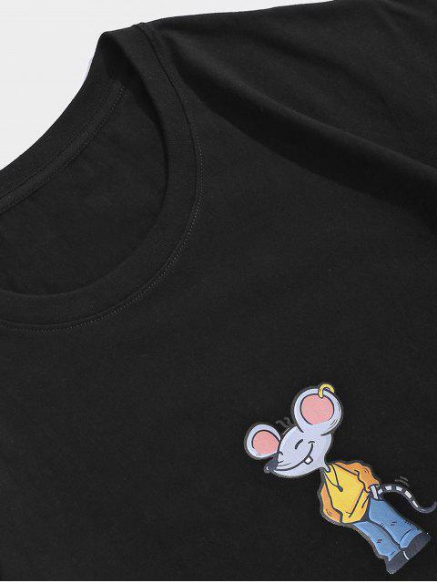 Maglietta a Maniche Corte con Stampa a Mouse Dei Cartoni Animati - Nero M Mobile