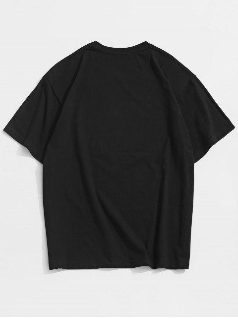 Camisa de Mangas Curtas com Impresso de Desenhos Animados - Preto 3XL Mobile