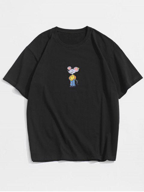 Kurzarm Cartoon Maus Gedrucktes T-Shirt - Schwarz 3XL Mobile