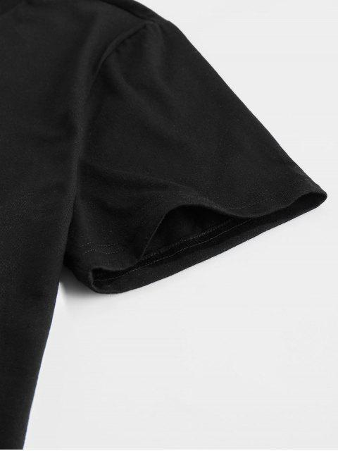 ZAFUL Rauchen Geste T-Shirt mit Aufdruck - Schwarz S Mobile