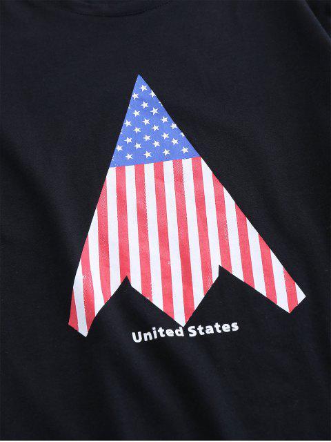ZAFUL Camiseta de Cuello Redondo con Estampado de Bandera de Estados Unidos - Negro M Mobile