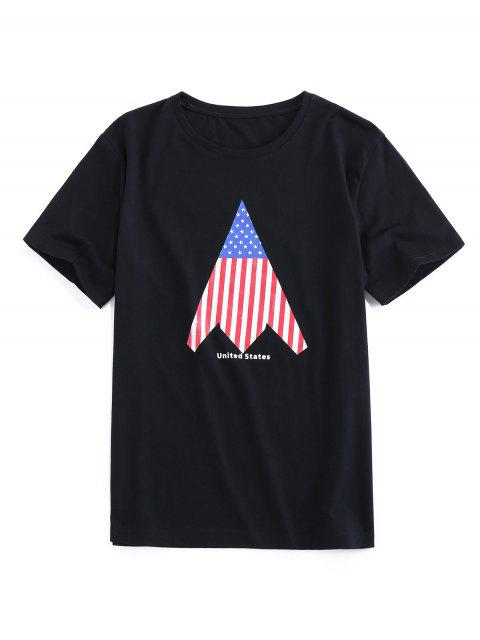 lady ZAFUL American Flag Print Round Neck T-shirt - BLACK 2XL Mobile