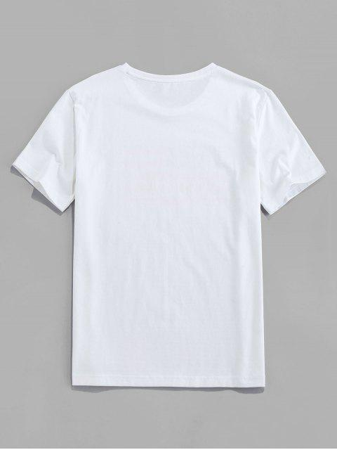 T-Shirt Casuale di ZAFUL con Stampa Bandiera Americana - Bianca XL Mobile