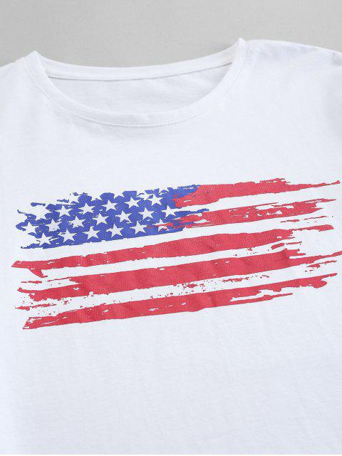 trendy ZAFUL American Flag Print Casual T-shirt - WHITE 2XL Mobile