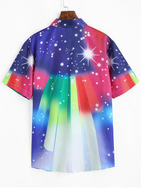 Colorful Gradient Spotty Short Sleeve Shirt - متعدد 2XL Mobile